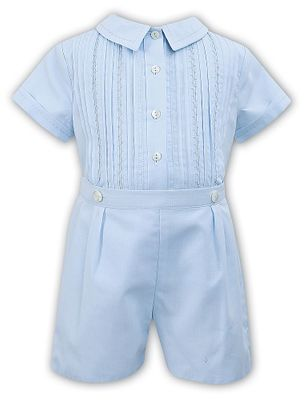 Sarah Louise Baby / Toddler Boys Embroidered Button On Suit - Blue