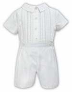 Sarah Louise Baby / Toddler Boys Embroidered Button On Suit - Ivory