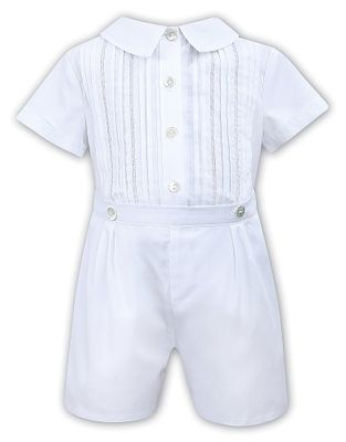 Sarah Louise Baby / Toddler Boys Embroidered Button On Suit - White