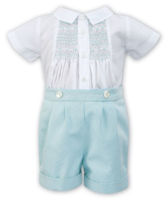 Sarah Louise Baby / Toddler Boys Mint Green Smocked Button On Outfit