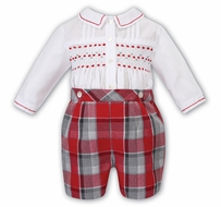 Sarah Louise Baby / Toddler Boys Red / Gray Plaid Embroidered Button On Suit