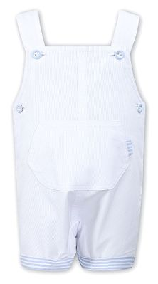 Sarah Louise Baby / Toddler Boys White Overall with Blue Stripe Trim
