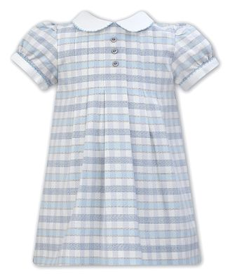 Sarah Louise Baby / Toddler Girls Blue Plaid Dress with Collar