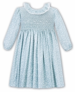 Sarah Louise Baby / Toddler Girls Aqua Blue / White Floral Smocked Dress - Ruffle Neck