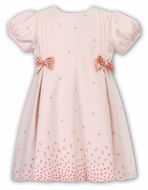 Sarah Louise Baby / Toddler Girls Coral Dress - Floral Border & Velvet Bows