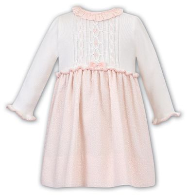 Sarah Louise Baby / Toddler Girls Coral Floral Dress with Sweater Knit Bodice