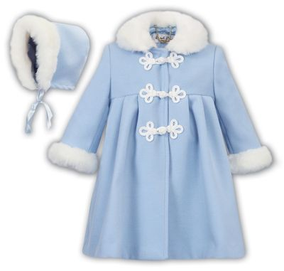 Sarah Louise Baby / Toddler Girls Classic Dress Coat with Faux Fur Trim and Bonnet - Blue
