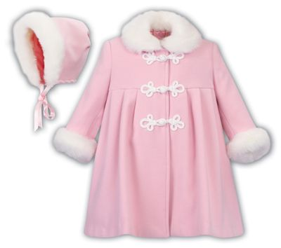 Sarah Louise Baby / Toddler Girls Classic Dress Coat with Faux Fur Trim and Bonnet - Pink