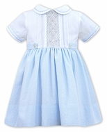 Sarah Louise Baby / Toddler Girls Gingham Smocked Dress with Collar - Blue