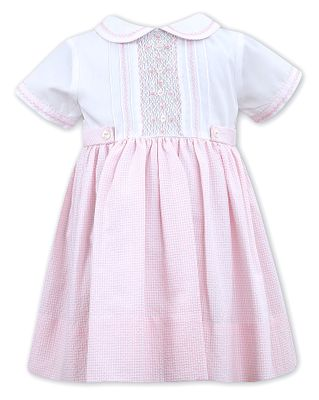 Sarah Louise Baby / Toddler Girls Gingham Smocked Dress with Collar - Pink