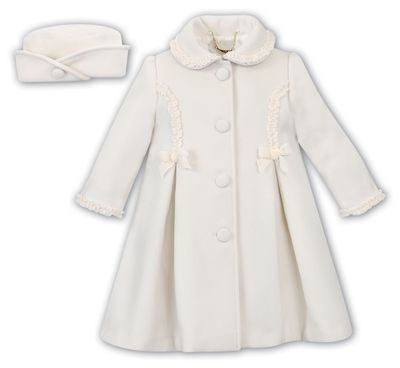 Sarah Louise Baby / Toddler Girls Dress Coat with Bow Trim & Matching Hat- Ivory