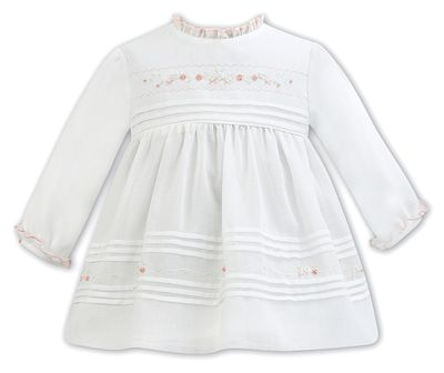 Sarah Louise Baby / Toddler Girls Ivory Voile Dress - Peach Embroidery and Details