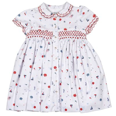 Sarah Louise Dani Baby / Toddler Girls Patriotic Fish & Boats Print Smocked Dress