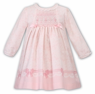 Sarah Louise Baby / Toddler Girls Pink Bows Print Smocked Dress