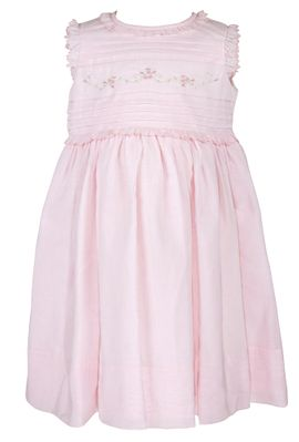 Sarah Louise Baby / Toddler Girls Sleeveless Pink Voile Embroidered Dress