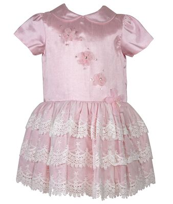 Sarah Louise Baby / Toddler Girls Special Occasion Dress with Lace - Pink