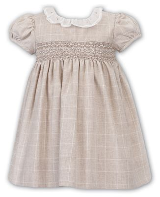 Sarah Louise Baby / Toddler Girls Tan Smocked Dress - White Ruffle Collar