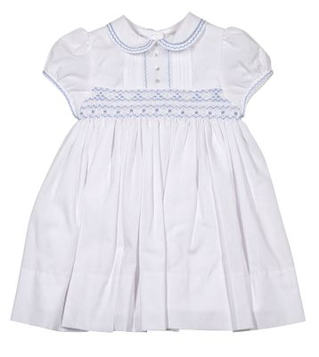 Sarah Louise Baby / Toddler Girls White Dress - Smocked in Blue