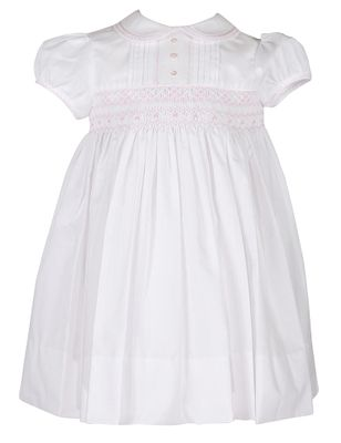 Sarah Louise Baby / Toddler Girls White Dress - Smocked in Pink