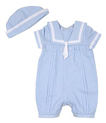 Sarah Louise Boys Classic Sailor Romper with Hat - Light Blue