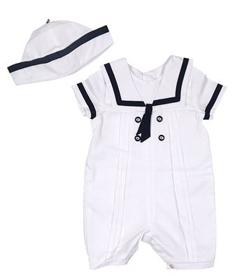 Sarah Louise Boys Classic Sailor Romper with Hat - White with Navy Blue Trim