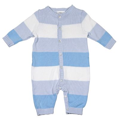 Sarah Louise / Dani Baby Boys Blue Rugby Stripes Sweater Knit Romper