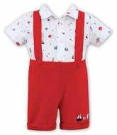 Sarah Louise Dani Baby / Toddler Boys Sweater Knit Suspender Short Set - Nautical Print Shirt - Red