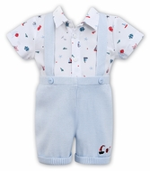 Sarah Louise Dani Baby / Toddler Boys Sweater Knit Suspender Short Set - Nautical Print Shirt - Blue