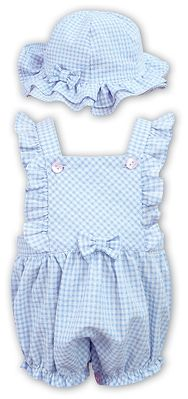 Sarah Louise Dani Baby / Toddler Girls Gingham Bubble with Hat - Blue