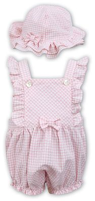 Sarah Louise Dani Baby / Toddler Girls Gingham Bubble with Hat - Pink