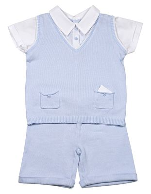 Sarah Louise Dani Toddler Boys Blue Sweater Knit Shorts Set with Vest