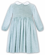 Sarah Louise Girls Aqua Blue Floral Dress - Fully Smocked Bodice