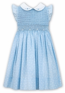 Sarah Louise  Girls Blue Butterfly Print Dress - Flutter Sleeves - Fully Smocked Bodice