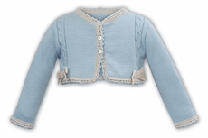 Sarah Louise Girls Blue Cardigan Sweater with Beige Velvet Bows