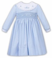 Sarah Louise Girls Smocked Dress - White Platter Collar - Blue