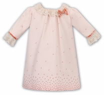 Sarah Louise Girls Coral Peach A-Line Dress - Floral Border - Bow - Lace Collar