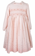 Sarah Louise Girls Coral Peach Floral Border Dress - Fully Smocked Bodice