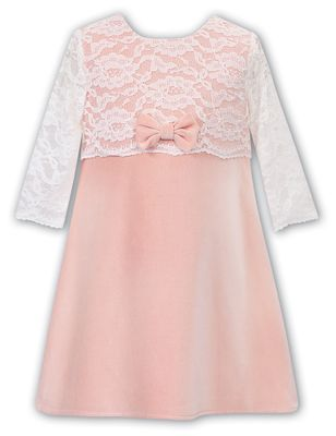 Sarah Louise Girls Coral Peach Velvet Dress - Lace Overlay & Sleeves