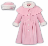 Sarah Louise Girls Dress Coat with Faux Fur Trim Trim & Matching Hat - Pink