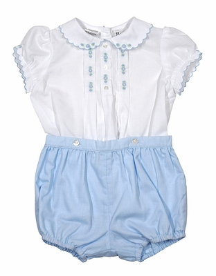 Sarah Louise Girls Embroidered Button On Bloomers Set - Blue