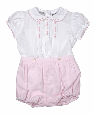 Sarah Louise Girls Embroidered Button On Bloomers Set - Pink