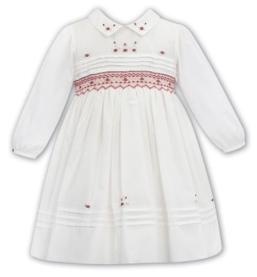 Sarah Louise Girls Ivory Dress - Embroidered and Smocked in Burgundy
