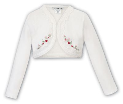 Sarah Louise Girls Lace Trim Bolero Sweater - Ivory with Red & Pink Embroidery