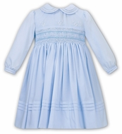 Sarah Louise Girls Blue Smocked & Embroidered Dress - Collar & Long Sleeves