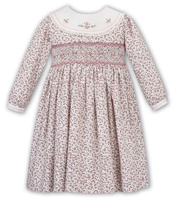 Sarah Louise Girls Pink / Lavender Floral Smocked Dress - Platter Collar