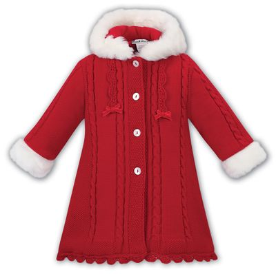 Sarah Louise Girls Red Cable Knit Sweater Coat with Hood - White Faux Fur Trim