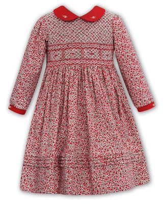 Sarah Louise Girls Red Christmas Floral Dress - Red Collar & Fully Smocked Bodice