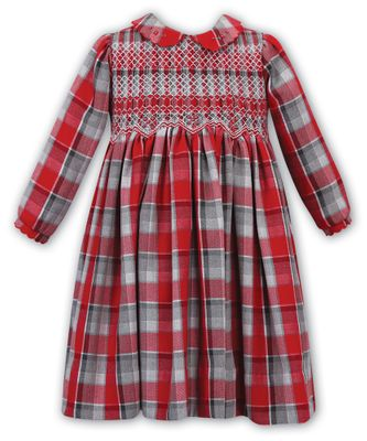 Sarah Louise Girls Red / Gray Plaid Dress - Fully Smocked Bodice
