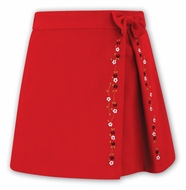 Sarah Louise Girls Red Skirt - Kick Pleat - Embroidery & Bow