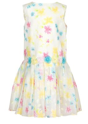 Sarah Louise Girls Sleeveless Yellow Dress - Pink / Yellow / Blue Flowers